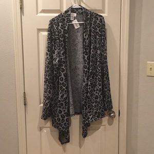 Sweaters - Leopard print cardigan black and gray